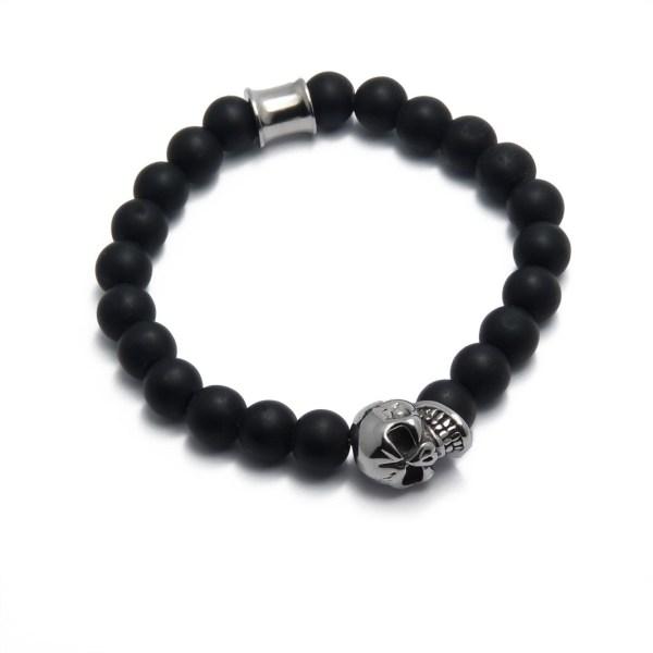 Bracelet homme agate noir et tête de mort.