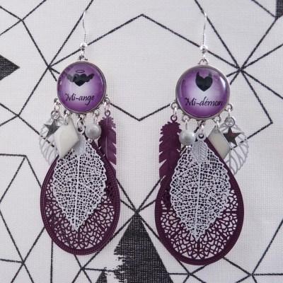 Boucles d'oreilles Mi-ange Mi-démon violettes et blanches