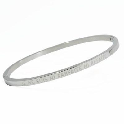 Bracelet jonc «JE NE SUIS NI PARFAITE NI REFAITE»