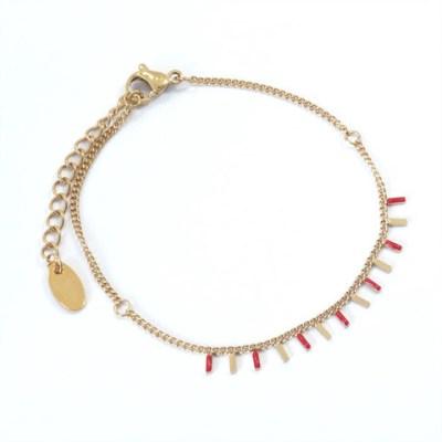 Bracelet rectangles rouges et dorés