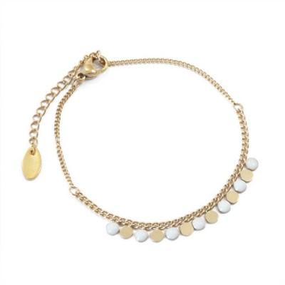 Bracelet ronds blancs et dorés