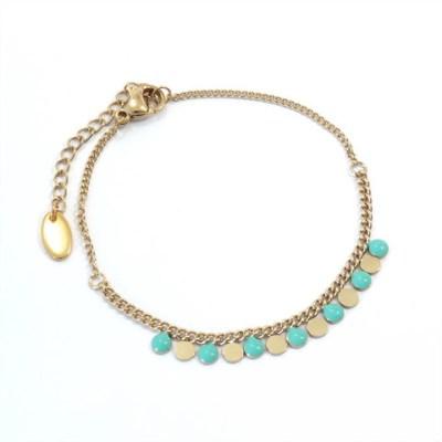 Bracelet ronds vert d'eau et dorés