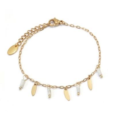 Bracelet navettes et perles blanches marbrées