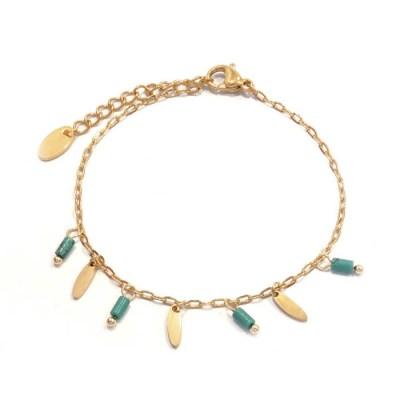 Bracelet navettes et perles turquoise marbrées