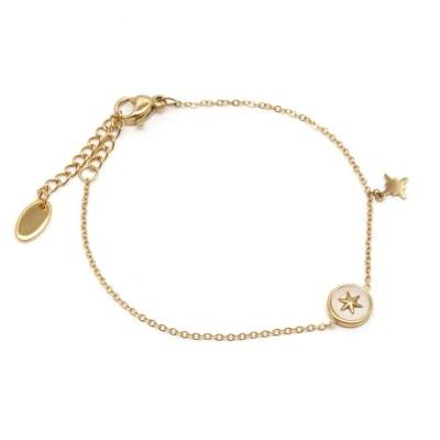 Bracelet rond nacré étoile polaire en acier inoxydable doré