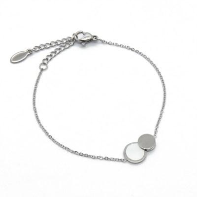Bracelet double ronds en acier inoxydable