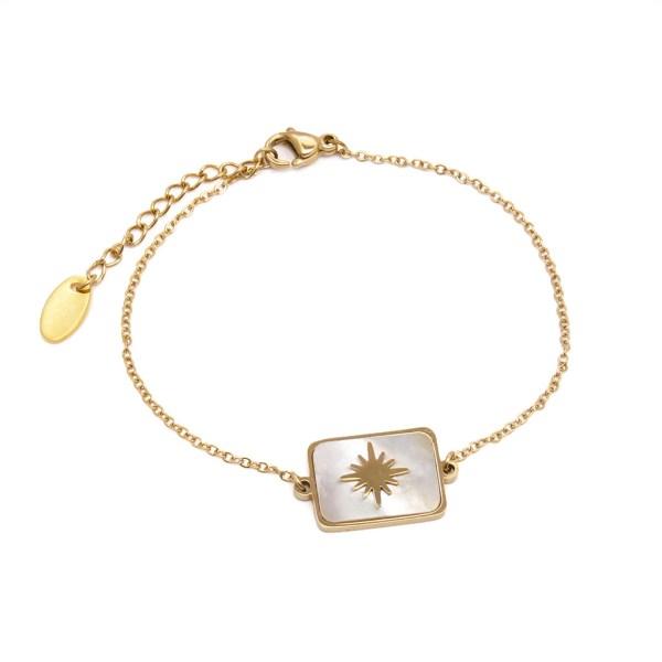 Bracelet femme en acier inoxydable doré, rectangle nacré et étoile polaire.
