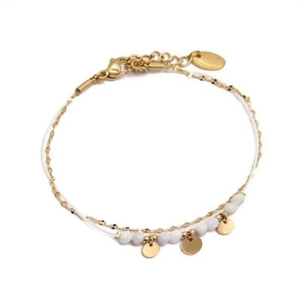 Bracelet double rang en acier inoxydable doré, chaine perles, pampilles et cordon blanc.
