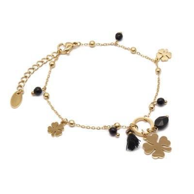 Bracelet trèfles noir