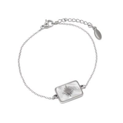 Bracelet nacré étoile polaire en acier inoxydable