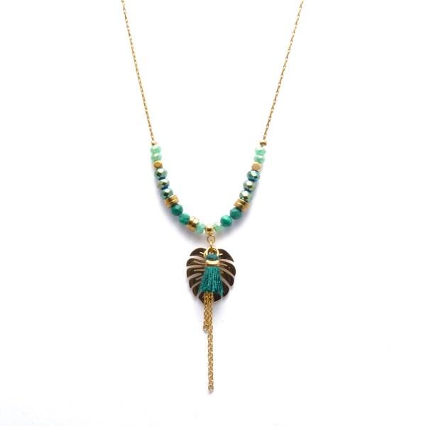 Collier pendentif femme jungle, feuille, pompon, perles.