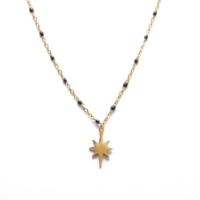 Collier étoile polaire noir