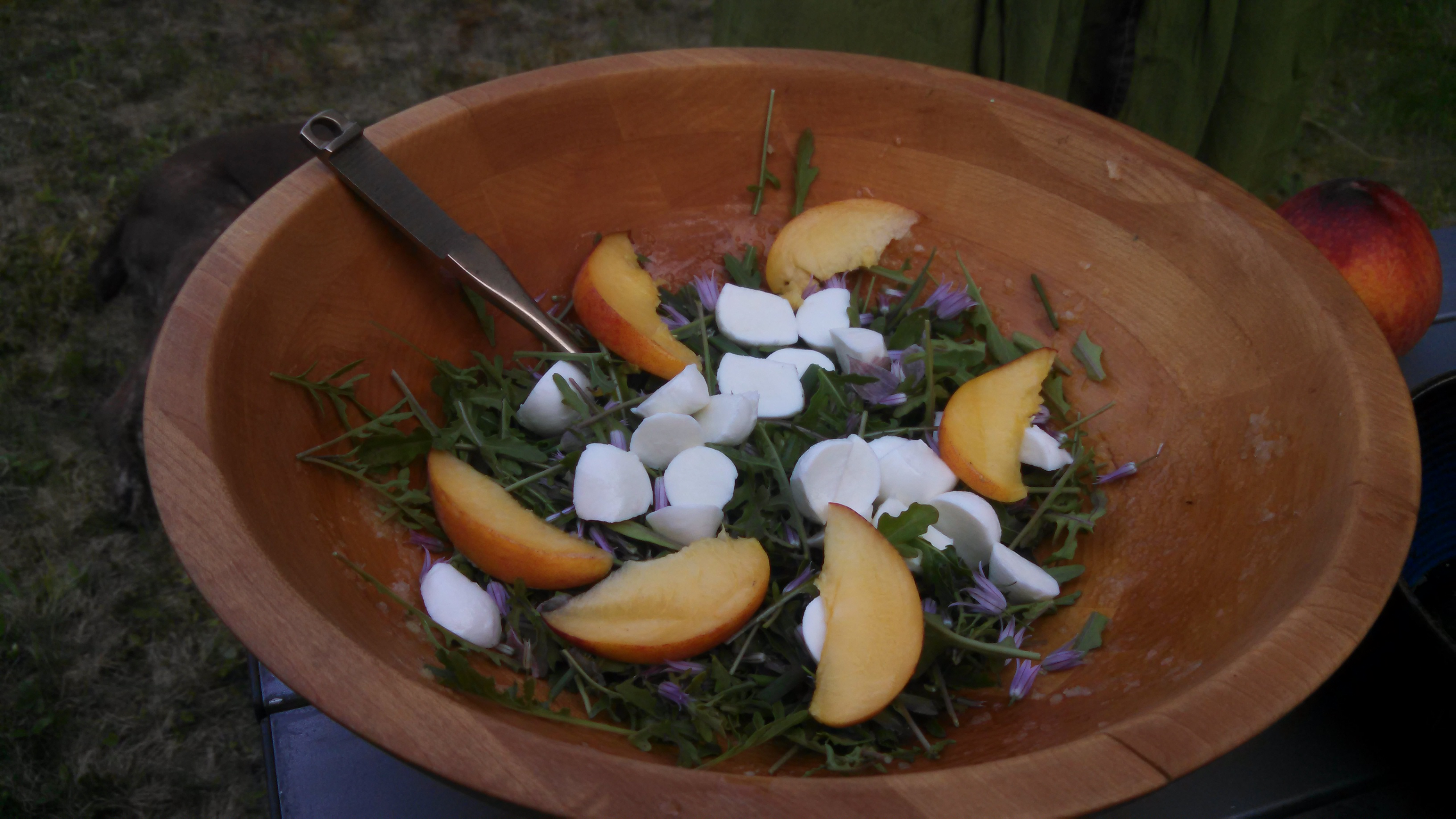 Georgia peach and home-tent arugula salad. & The Vagabond Kitchen: Last Yearu0027s Seeds - Marquette Magazine