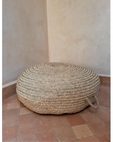pouf en paille naturelle fabrication artisanale marrakech deco