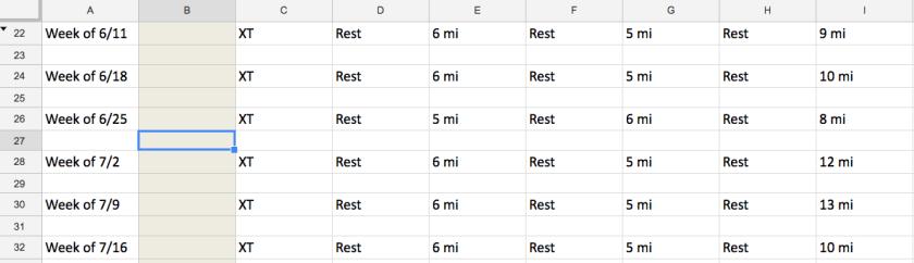 Sample Month for Couple's Marathon Schedule