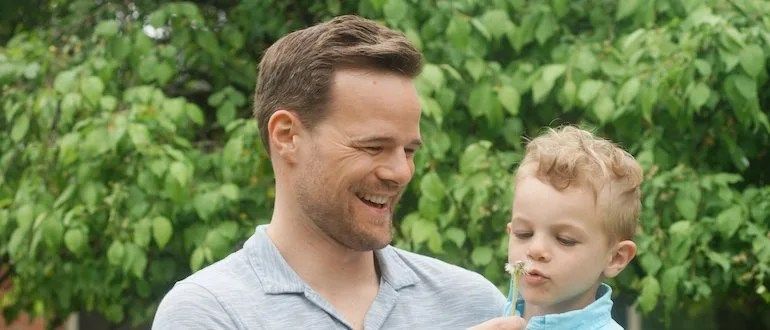Andy Hill and son laughing
