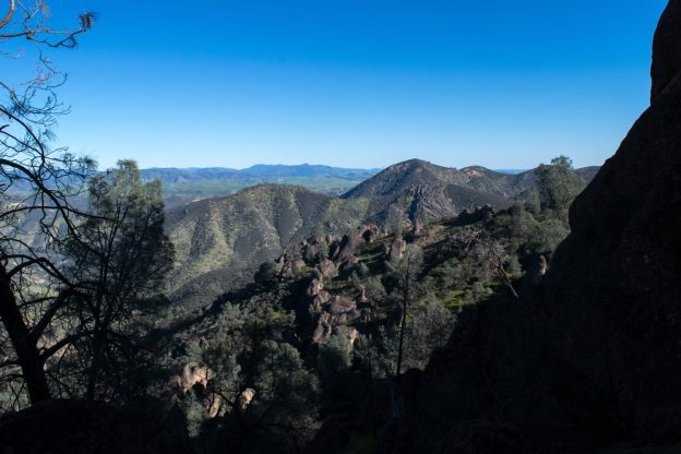 Bear Gulch Reservoir Hidden behind Mountain at Pinnacles National Park California from the High Peaks Trail