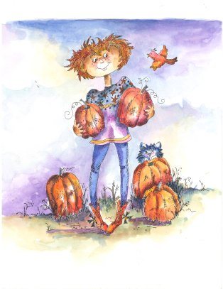 Girl with Pumpkins