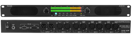 4 analog balanced XLR stereo inputs and 2 analog balanced XLR outputs