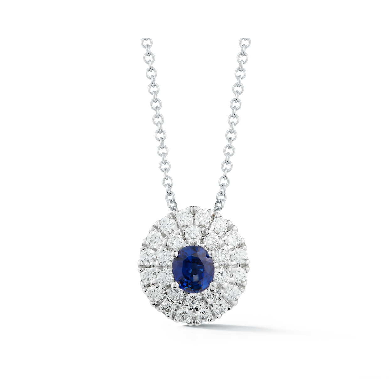 0 60ct Oval Sapphire Halo Pendant