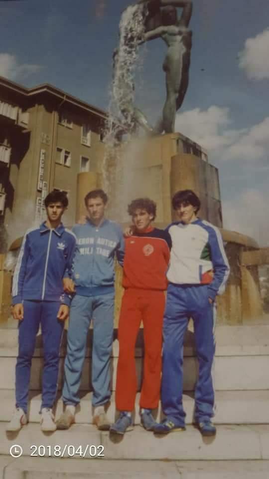 Da sinistra: Ugo Fidanza, Marino Di Marco, Nazzareno D'Agostino, Corrado Di Salvatore. Quattro delle sue creature nell'atletica che conta.
