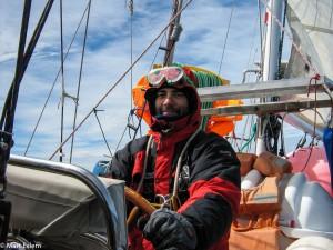 Mart Eslem u kormidla jachty Bona Terra [Mart Eslem]
