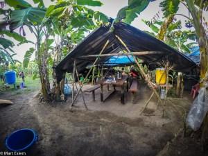 Tábor BBC uprostřed banánové plantáže v Sierra Imataca ve Venezuele (Mart Eslem)