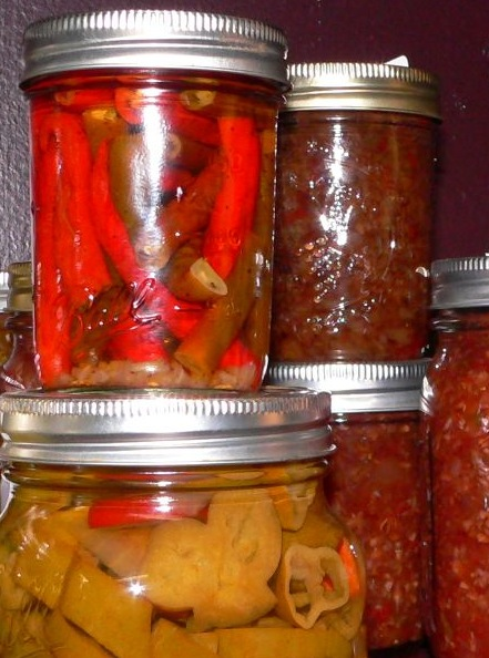 Canned pickled cayenne, sweet peppers and chow chow, sitting on my pantry shelf.