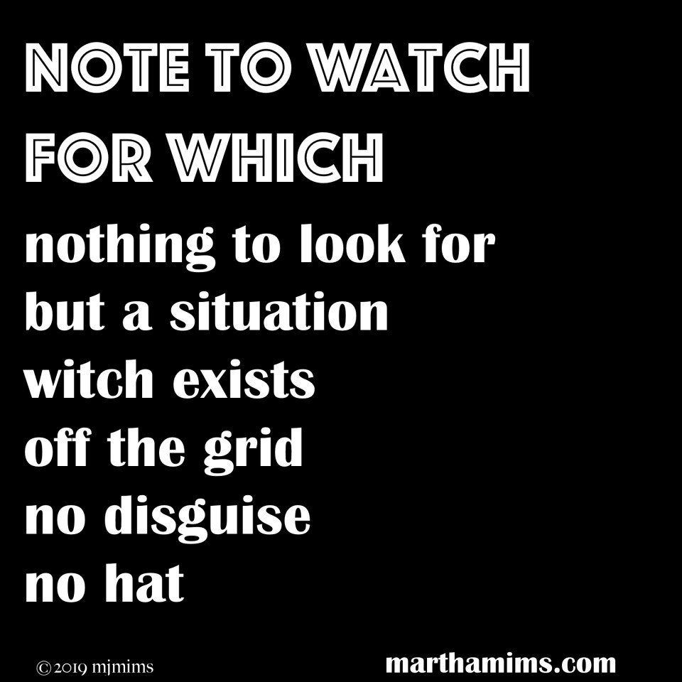 nothing to look for  but a situation witch exists off the grid no disguise no hat