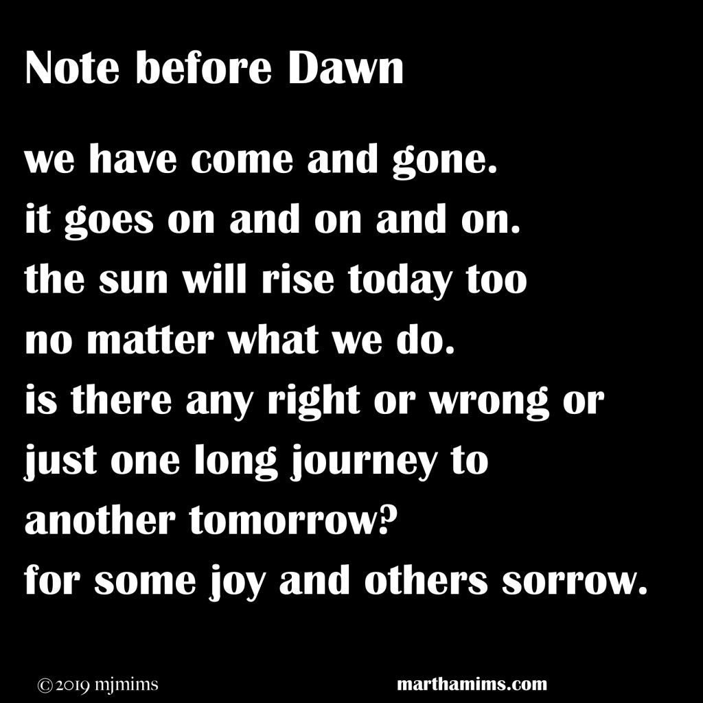 we have come and gone. it goes on and on and on. the sun will rise today too no matter what we do. is there any right or wrong or just one long journey to another tomorrow? for some joy and others sorrow.