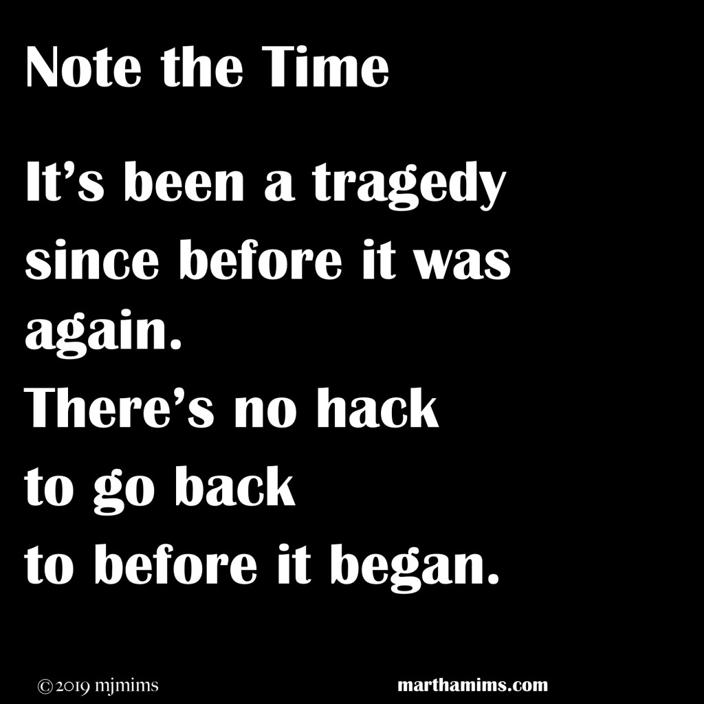It's been a tragedy since before it was again.  There's no hack to go back to before it began.