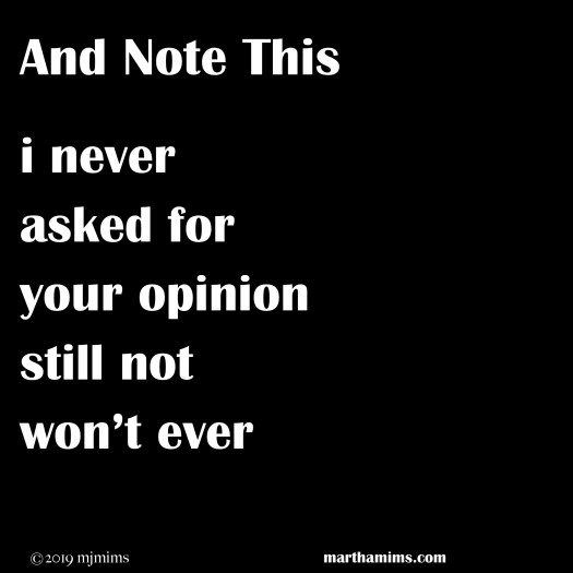 i never asked for your opinion still not won't ever