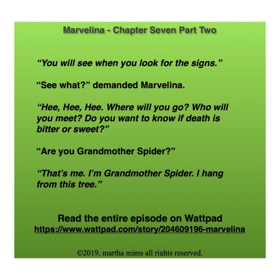 """You will see when you look for the signs.""   ""See what?"" demanded Marvelina.  ""Hee, Hee, Hee. Where will you go? Who will you meet? Do you want to know if death is bitter or sweet?""  ""Are you Grandmother Spider?""  ""That's me. I'm Grandmother Spider. I hang from this tree."""