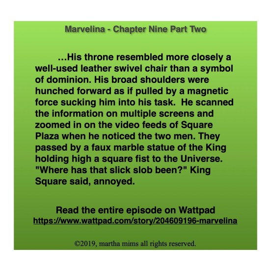 """…His throne resembled more closely a well-used leather swivel chair than a symbol of dominion. His broad shoulders were hunched forward as if pulled by a magnetic force sucking him into his task.  He scanned the information on multiple screens and zoomed in on the video feeds of Square Plaza when he noticed the two men. They passed by a faux marble statue of the King holding high a square fist to the Universe. """"Where has that slick slob been?"""" King Square said, annoyed."""