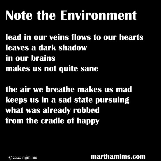 lead in our veins flows to our hearts leaves a dark shadow in our brains makes us not quite sane  the air we breathe makes us mad keeps us in a sad state pursuing what was already robbed from the cradle of happy