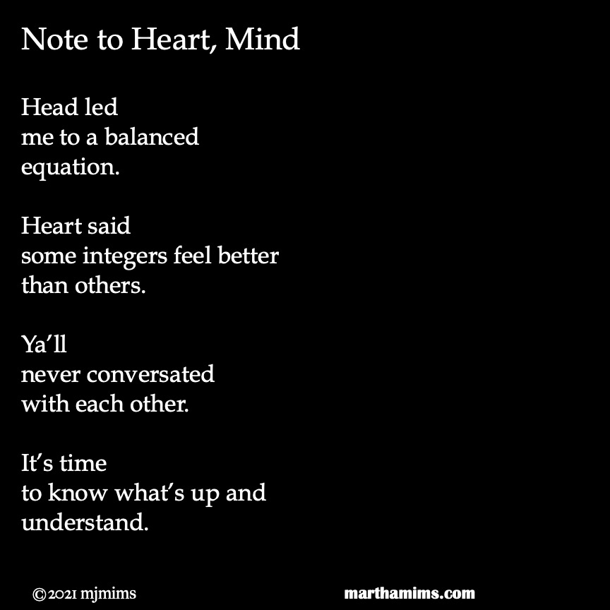 Head led me to a balanced equation.  Heart said some integers feel better than others.  Ya'll never conversated with each other.  It's time to know what's up and understand.