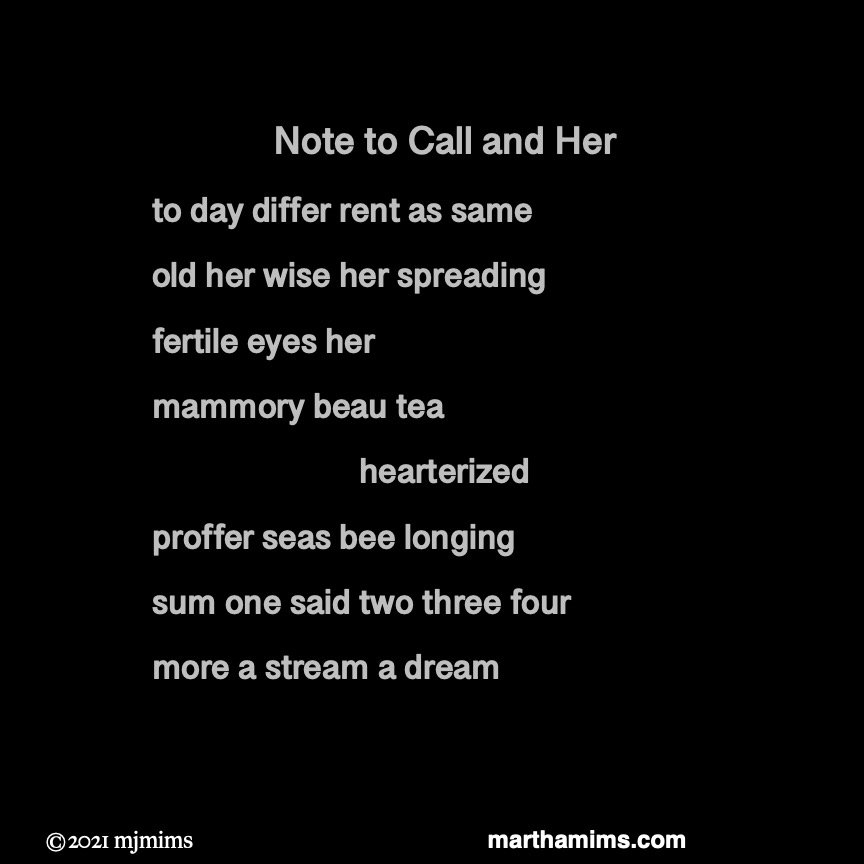 Note to Call and Her to day differ rent as same old her wise her spreading  fertile eyes her mammory beau tea  hearterized  proffer seas bee longing  sum one said two three four more a stream a dream