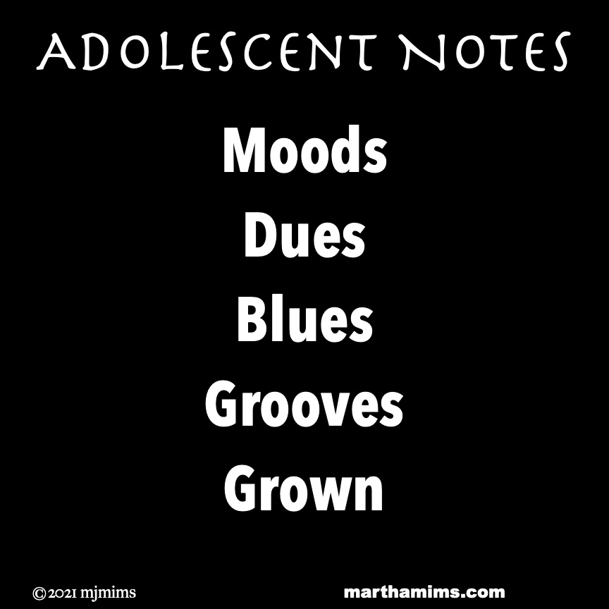Adolescent Notes   Moods Dues Blues Grooves Grown