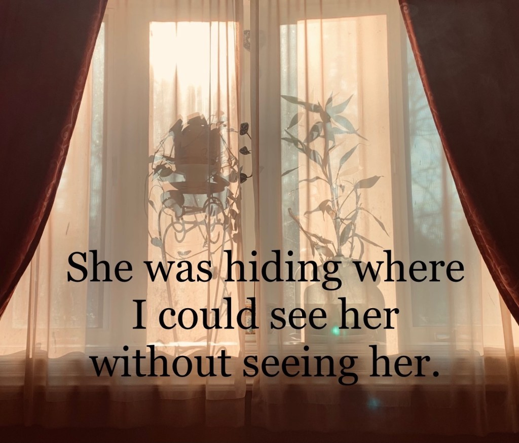 She was hiding where I could see her without seeing her