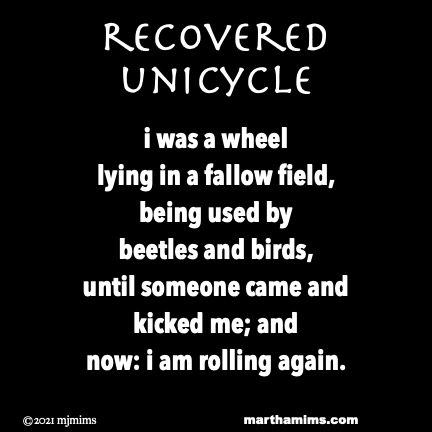 recovered unicycle  i was a wheel lying in a fallow field, being used by  beetles and birds, until someone came and kicked me; and  now: i am rolling again.