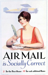 Airmail is Socially Correct vintage poster