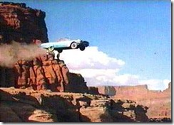 Thelma and Louise driving off a cliff