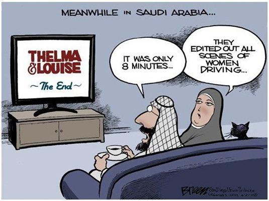 Saudi Arabia Women Driving Thelma and Louise Cartoon