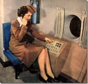 Vintage flight attendant on in-board speaker system