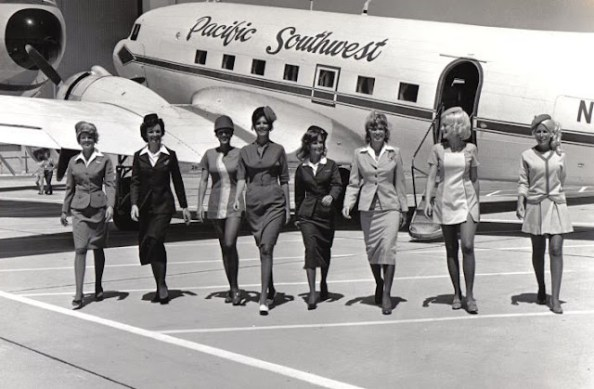 vintage flight attendants black and white