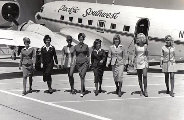 vintage flight attendants black and white