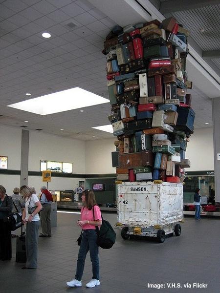 Sacramento airport suitcase art