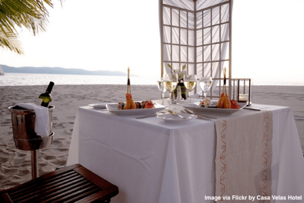 Romantic dinner on beach