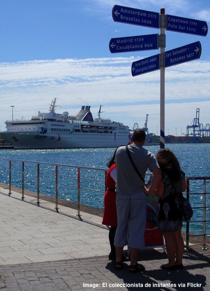 Cruise ship in Canary Islands Spain