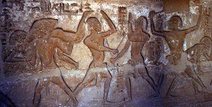 Murales in tomba 15 a Beni Hasan, raffiguranti tecniche di lotta.